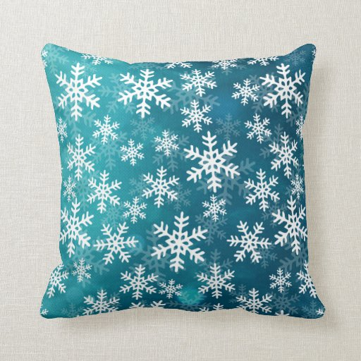 teal blue and white snowflakes throw pillow zazzle. Black Bedroom Furniture Sets. Home Design Ideas