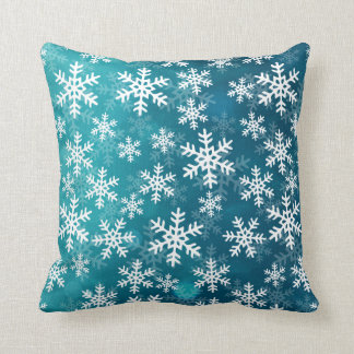 Teal Blue and White Snowflakes Throw Pillow