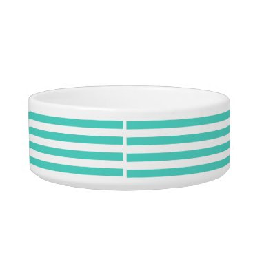 Beach Themed Teal Blue and White Stripe Pattern Bowl