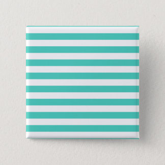 Teal Blue and White Stripe Pattern Button