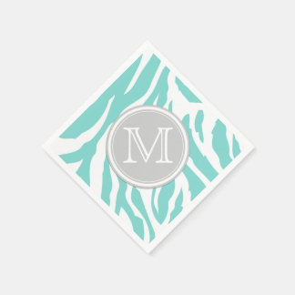 Teal Blue and White Zebra Stripes with Monogram Paper Napkin