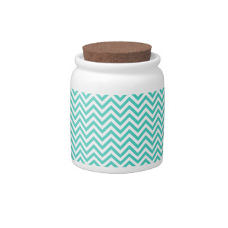 Teal Blue and White Zigzag Stripes Chevron Pattern Candy Dishes