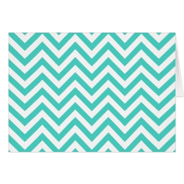 Beach Themed Teal Blue and White Zigzag Stripes Chevron Pattern Card