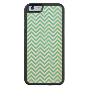 Beach Themed Teal Blue and White Zigzag Stripes Chevron Pattern Carved Maple iPhone 6 Bumper Case