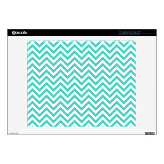 "Teal Blue and White Zigzag Stripes Chevron Pattern Decals For 14"" Laptops"