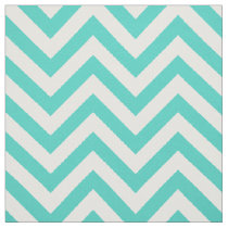 Teal Blue and White Zigzag Stripes Chevron Pattern Fabric
