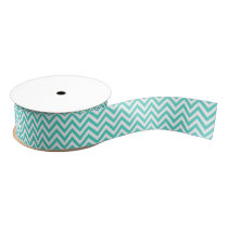 Teal Blue and White Zigzag Stripes Chevron Pattern Grosgrain Ribbon