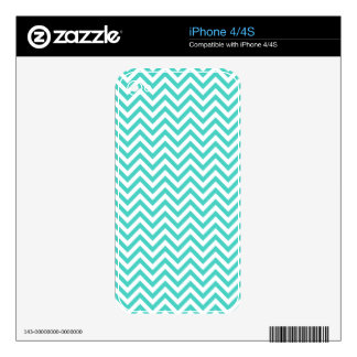Teal Blue and White Zigzag Stripes Chevron Pattern iPhone 4 Skins