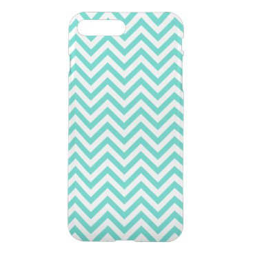 Beach Themed Teal Blue and White Zigzag Stripes Chevron Pattern iPhone 7 Plus Case