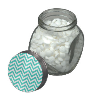 Teal Blue and White Zigzag Stripes Chevron Pattern Jelly Belly Candy Jars