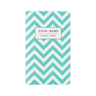 Teal Blue and White Zigzag Stripes Chevron Pattern Large Moleskine Notebook