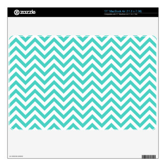 Teal Blue and White Zigzag Stripes Chevron Pattern MacBook Decal