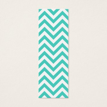 Beach Themed Teal Blue and White Zigzag Stripes Chevron Pattern Mini Business Card