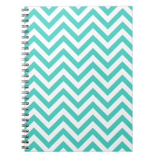 Teal Blue and White Zigzag Stripes Chevron Pattern Notebook