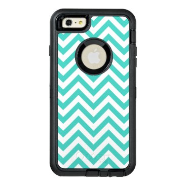 Beach Themed Teal Blue and White Zigzag Stripes Chevron Pattern OtterBox Defender iPhone Case