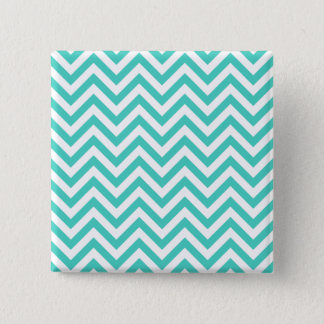 Teal Blue and White Zigzag Stripes Chevron Pattern Pinback Button
