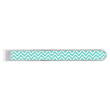 Beach Themed Teal Blue and White Zigzag Stripes Chevron Pattern Silver Finish Tie Bar