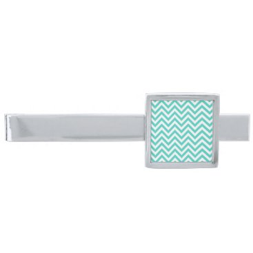 Beach Themed Teal Blue and White Zigzag Stripes Chevron Pattern Silver Finish Tie Clip