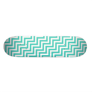Teal Blue and White Zigzag Stripes Chevron Pattern Skateboard Deck