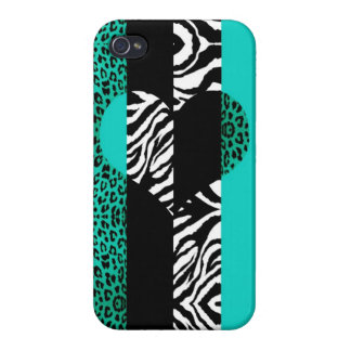 Teal Blue and Zebra Animal Print Heart Covers For iPhone 4