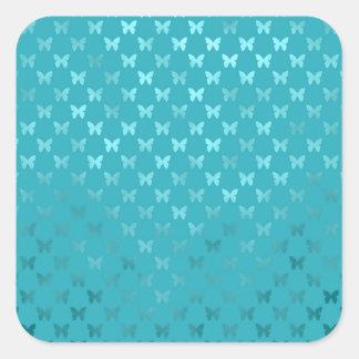Teal Blue Aqua Butterfly Metallic Faux Foil Square Sticker