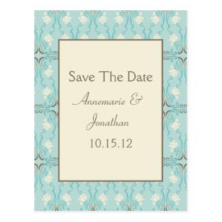 Teal Blue Aqua Cream Floral Save The Date Postcard