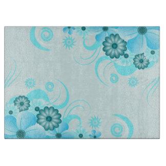 Teal Blue Aqua Floral Hibiscus Glass Cutting Board