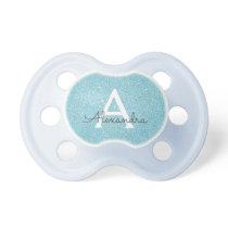 Teal Blue Aqua Glitter & Sparkle Monogram Baby Pacifier
