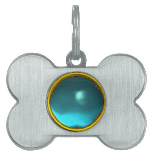 TEAL BLUE AQUAMARINE GEM STONE PET TAG