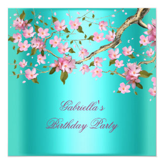 Teal Blue Asian Floral Birthday Party Card