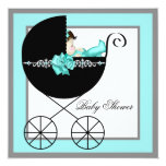 Teal Blue Baby Carriage Baby Shower Custom Invite