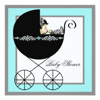 Teal Blue Baby Carriage Baby Shower Invitations