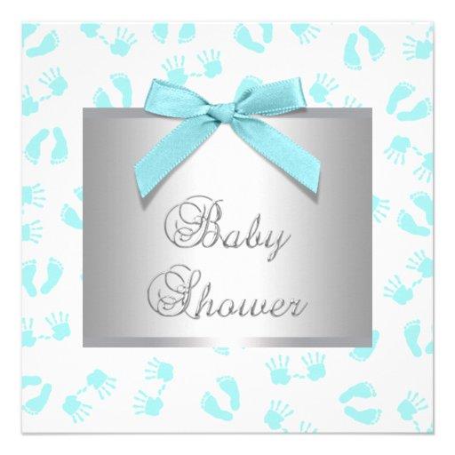 Teal Blue Baby Hands Feet Baby Shower Custom Invites