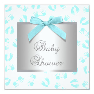 Teal Blue Baby Hands Feet Baby Shower 5.25x5.25 Square Paper Invitation Card