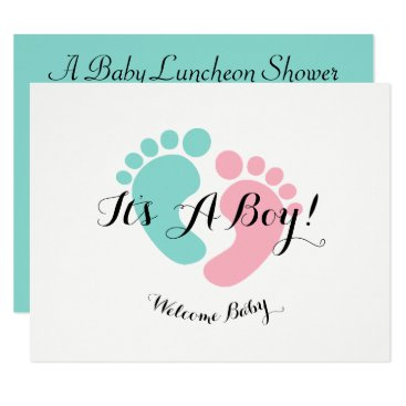 Teal Blue Baby Reveal Baby Shower Invitation