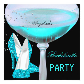 Teal Blue Bachelorette Party Champagne Shoes Card