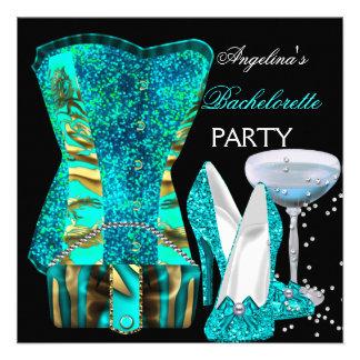 Teal Blue Bachelorette Party Shoes Corset Custom Invitations