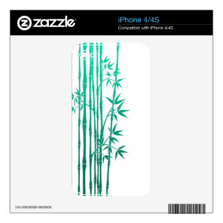Teal Blue Bamboo Sticks with Leaves on White Decals For The iPhone 4S
