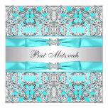 "Teal Blue Bat Mitzvah 5.25"" Square Invitation Card"