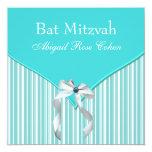 Teal Blue Bat Mitzvah Personalized Announcement