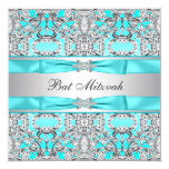 Teal Blue Bat Mitzvah Personalized Invitations