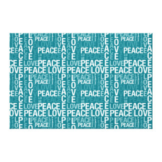 Teal Blue Bay and White Peace and Love Canvas Print
