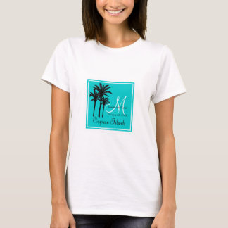 Teal Blue Beach Wedding Palm Trees T-Shirt