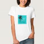Teal Blue Beach Wedding Palm Trees Tee Shirt