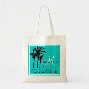 Beach Themed Teal Blue Beach Wedding Palm Trees Tote Bag