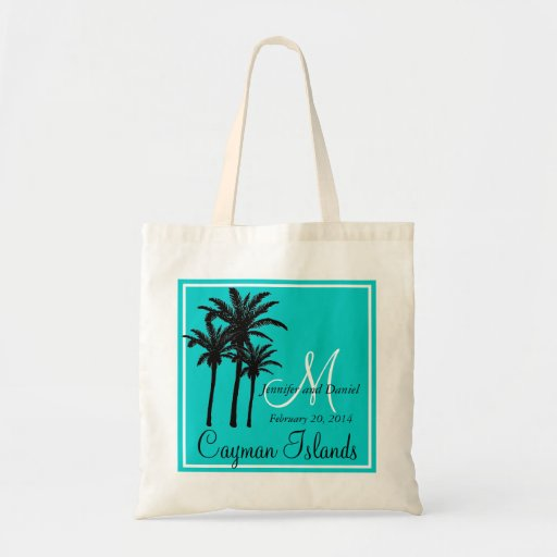 Teal Blue Beach Wedding Palm Trees Tote Bag