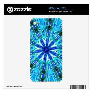 Teal Blue Beaded Floral Kaleidoscope Decal For The iPhone 4S