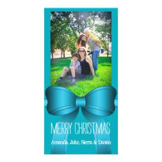 Teal Blue Big Bow Christmas Photo Gift Card