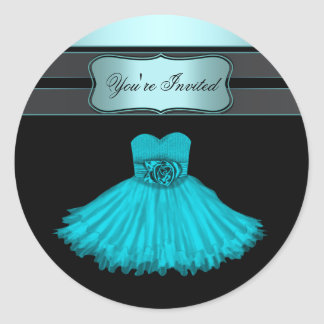 Teal Blue Birthday Party Stickers