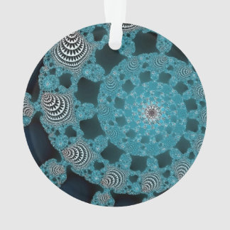 Teal Blue Black and White Fractal Circle Twirl Ornament
